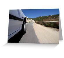 Speeding  car on road Greeting Card