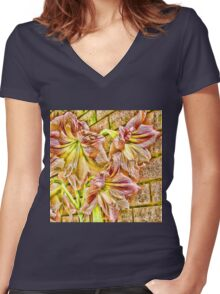 Vibrant abstract amaryllis in a garden Women's Fitted V-Neck T-Shirt