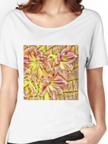 Vibrant abstract amaryllis in a garden Women's Relaxed Fit T-Shirt