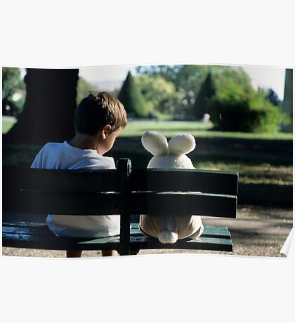 Boy (7-9) sitting on park bench with teddy bear Poster