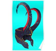Grunge Vintage Loki's Helmet Poster