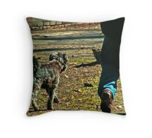 a dogs favorite moment Throw Pillow