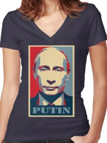 Vladimir Putin, obama poster Women's Fitted V-Neck T-Shirt