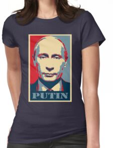 Vladimir Putin, obama poster Womens Fitted T-Shirt