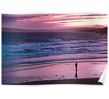 beach on sunset Poster