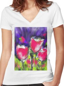 Tulip Types  Women's Fitted V-Neck T-Shirt
