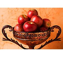 Brass bowl with fuji apples Photographic Print