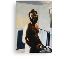 """Morning Shave - 1980 - oil on canvas - 18"""" x 26"""" Canvas Print"""