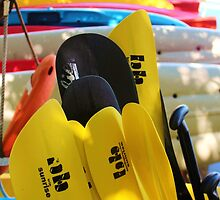 Kayaks and Paddles by Rene  Triay