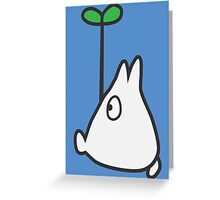 Small White Totoro with Leaf Greeting Card