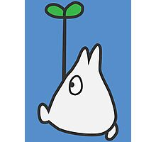 Small White Totoro with Leaf Photographic Print
