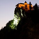 Bled castle lit up at night by Ian Middleton
