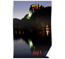 Lake Bled castle reflected at dusk Poster
