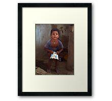 Strong Little Man Framed Print