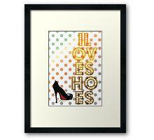 I Love Shoes in orange Framed Print