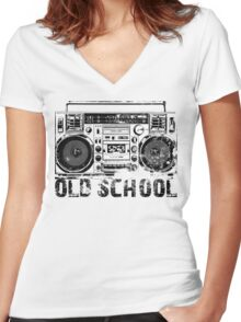 Old School Boombox Art Women's Fitted V-Neck T-Shirt