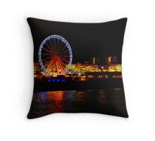 Brighton Wheel and Seafront at Night Throw Pillow