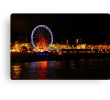 Brighton Wheel and Seafront at Night Canvas Print