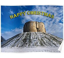 Christmas card: Clifford's Tower, York Poster