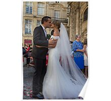 France. Bordeaux. Bride and Groom. Kiss. Poster