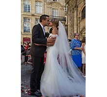 France. Bordeaux. Bride and Groom. Kiss. Photographic Print