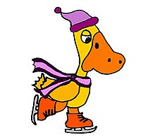 Funky Cool Yellow Duck is Ice Skating in this Original Art Photographic Print