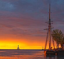 Sunrise on Port Washington harbor by Sue Justice
