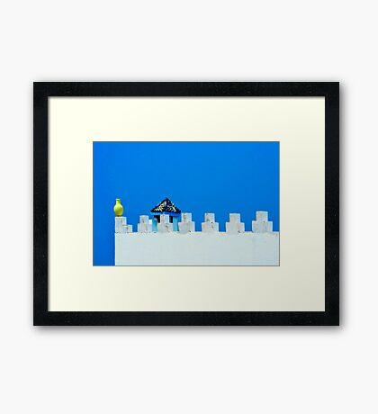 Battlements in Blue Framed Print