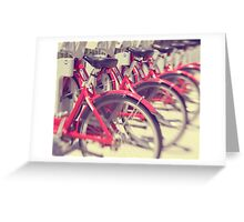 Lets Go for a Ride - red bicycles lined up Greeting Card