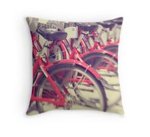 Lets Go for a Ride - red bicycles lined up Throw Pillow