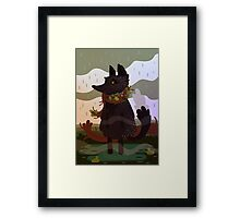 Black Fox in the Rain Framed Print