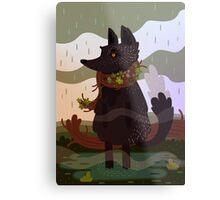 Black Fox in the Rain Metal Print