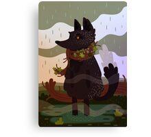 Black Fox in the Rain Canvas Print
