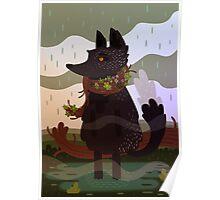 Black Fox in the Rain Poster