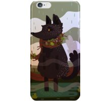 Black Fox in the Rain iPhone Case/Skin