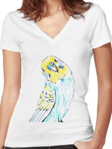 Budgie in Love Women's Fitted V-Neck T-Shirt