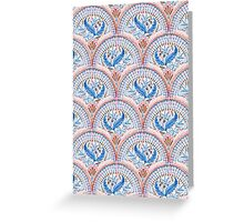 Art Deco Fresco in Sky Blue and Coral Greeting Card