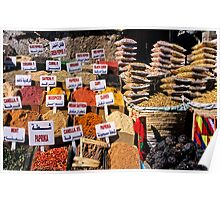 Herbs and spices displayed on stall in bazaar Poster