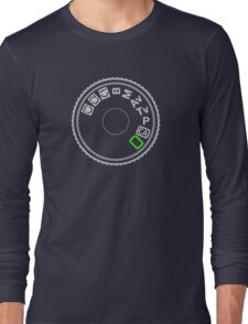 Camera Mode Dial Silver Green Long Sleeve T-Shirt