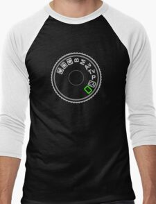 Camera Mode Dial Silver Green Men's Baseball ¾ T-Shirt