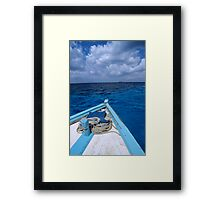 Deck and bow of diver's boat at sea Framed Print