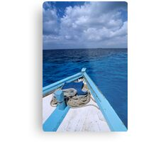 Deck and bow of diver's boat at sea Metal Print