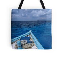 Deck and bow of diver's boat at sea Tote Bag