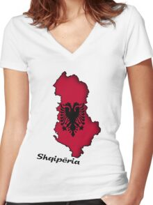 Zammuel's Country Series - Albanian (Albanian text) Women's Fitted V-Neck T-Shirt