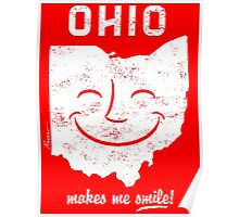 Ohio Makes Me Smile! Cool Vintage Retro Tee Poster
