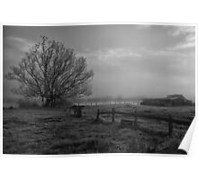 Old farm by a foggy river Poster