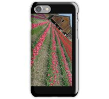 Another Angle On An Old Barn And Tulips iPhone case. iPhone Case/Skin