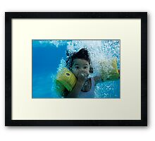 Young Girl Diving In A Swimming Pool Underwater Framed Print