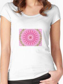 Pink Garden - Floral Kaleidoscope Women's Fitted Scoop T-Shirt