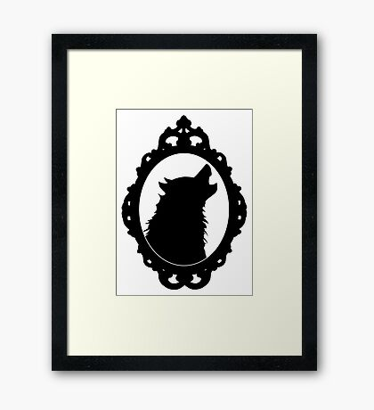 Halloween Art, Black Wolf Silhouette, Edgar Allan Poe, Wolfman, Werewolf, Horror Framed Print